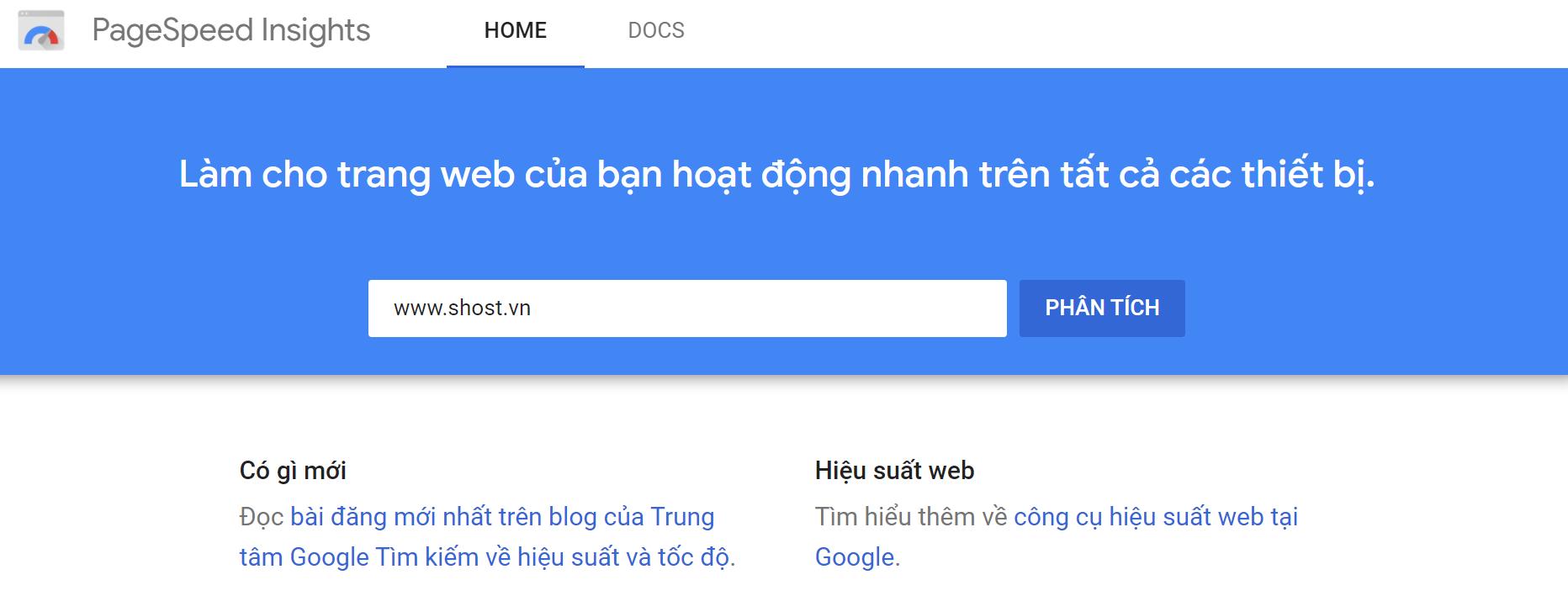 Công cụ kiểm tra tốc độ website